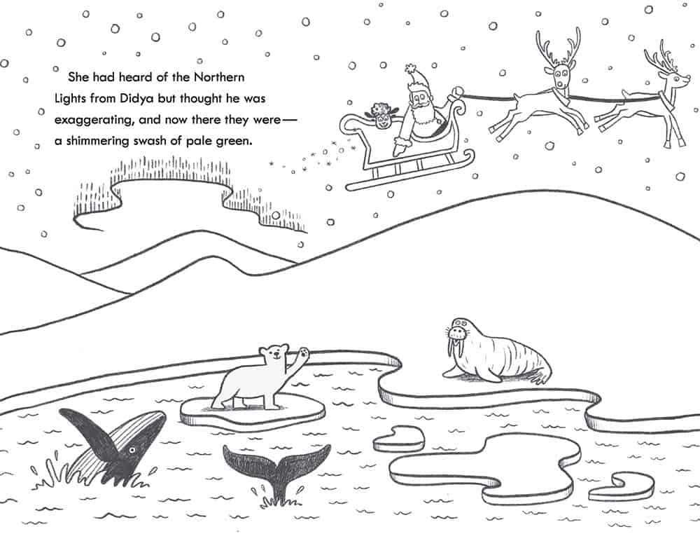 Santa\'s sleigh flies over a polar bear, whales and a walrus