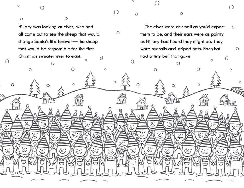Black and white illustration of elves