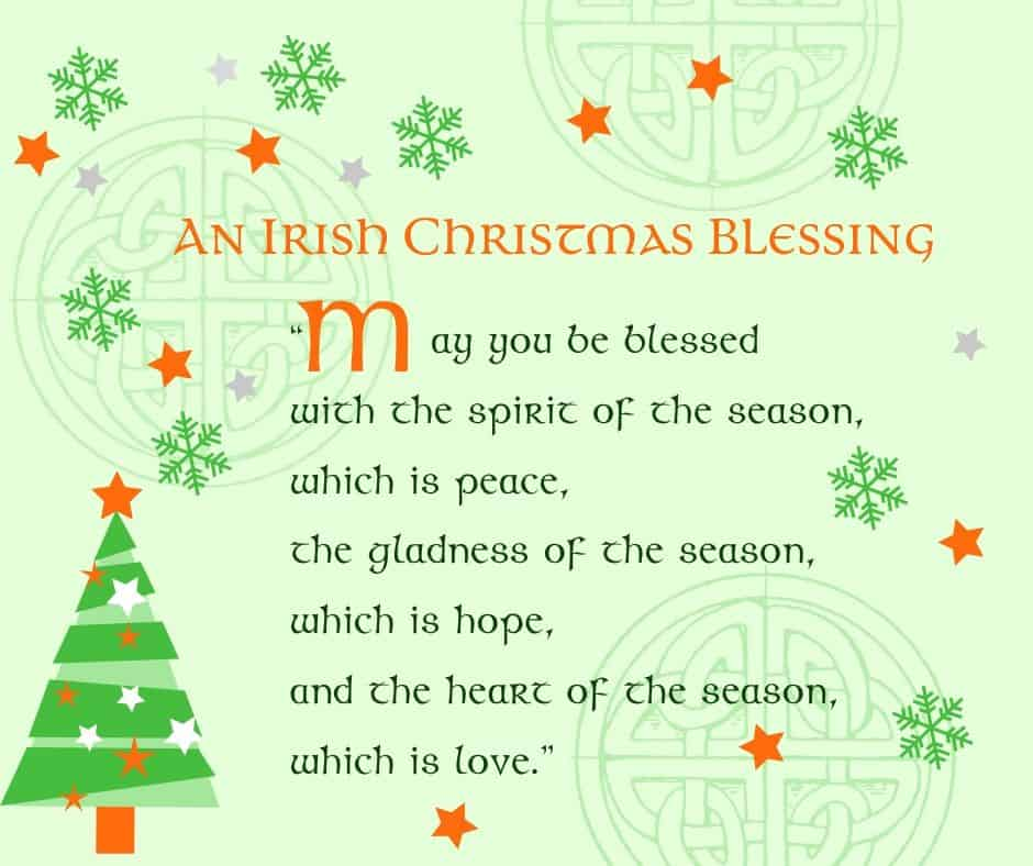 A Christmas tree and Celtic symbols adorn an Irish Christmas Blessing holiday greeting card printable