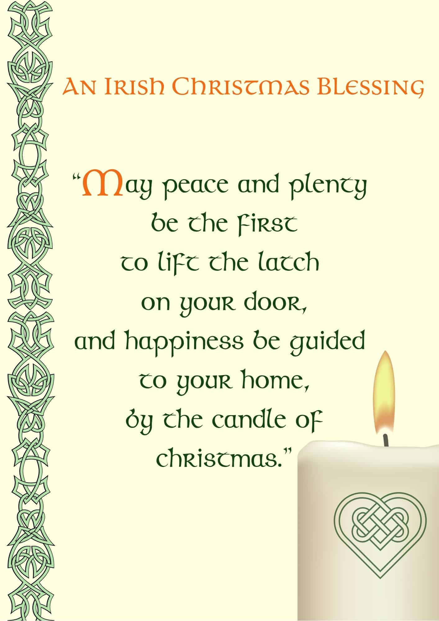 A Celtic Candle adorns an Irish Christmas Blessing Printable