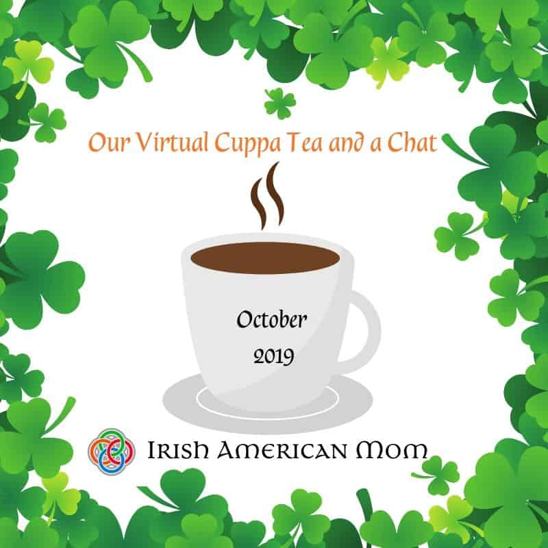 A cup of tea surrounded by a shamrock border