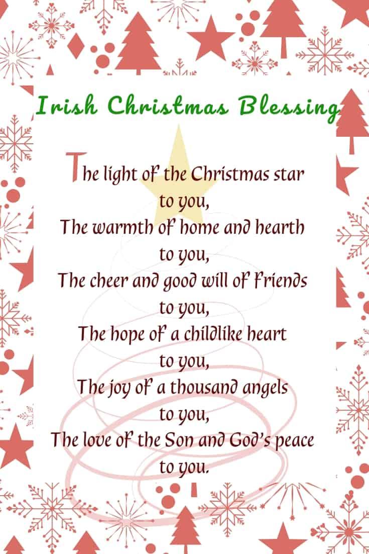 Irish Christmas Blessing Printable with a red Christmas tree, snowflake and star border