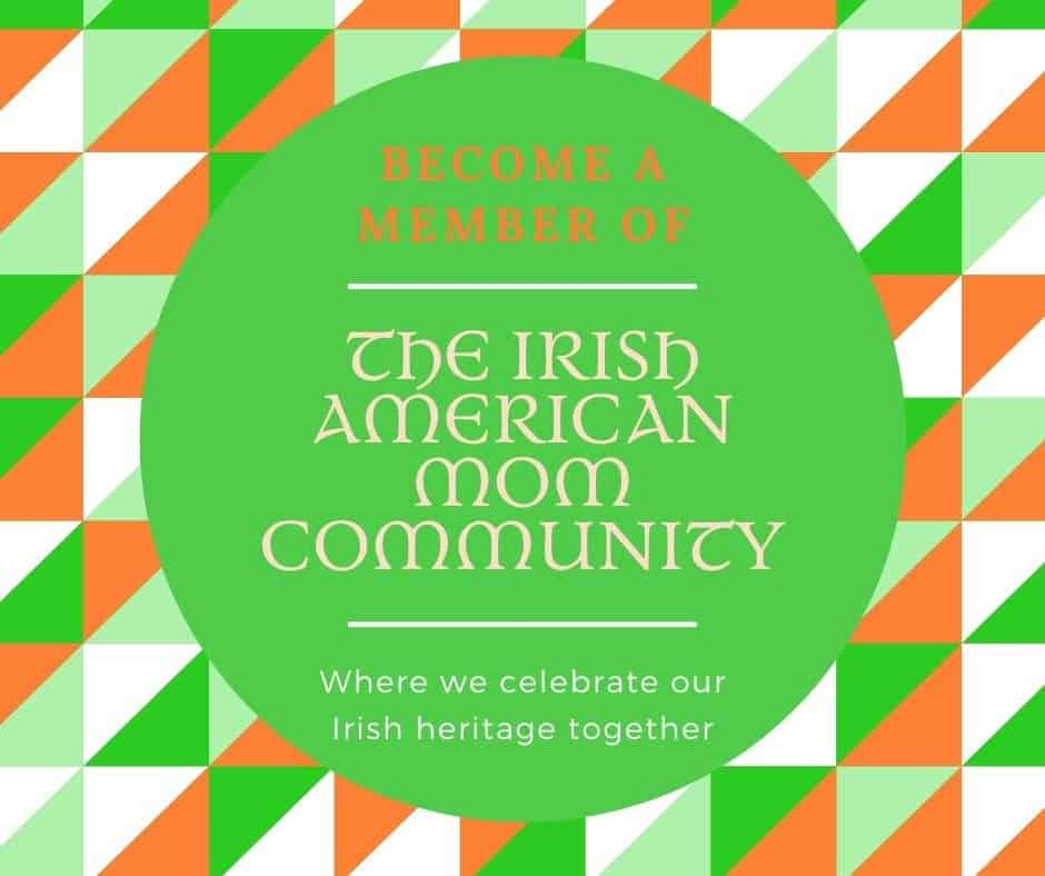 Green, white and orange graphic for the Irish American Mom Community