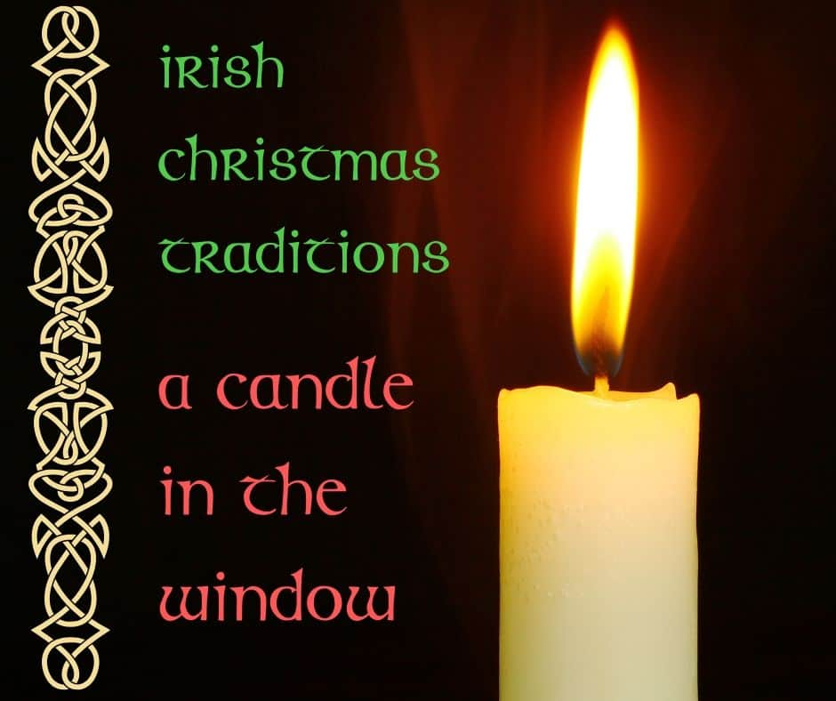 A glowing candle on a graphic with a Celtic border for Irish Christmas traditions