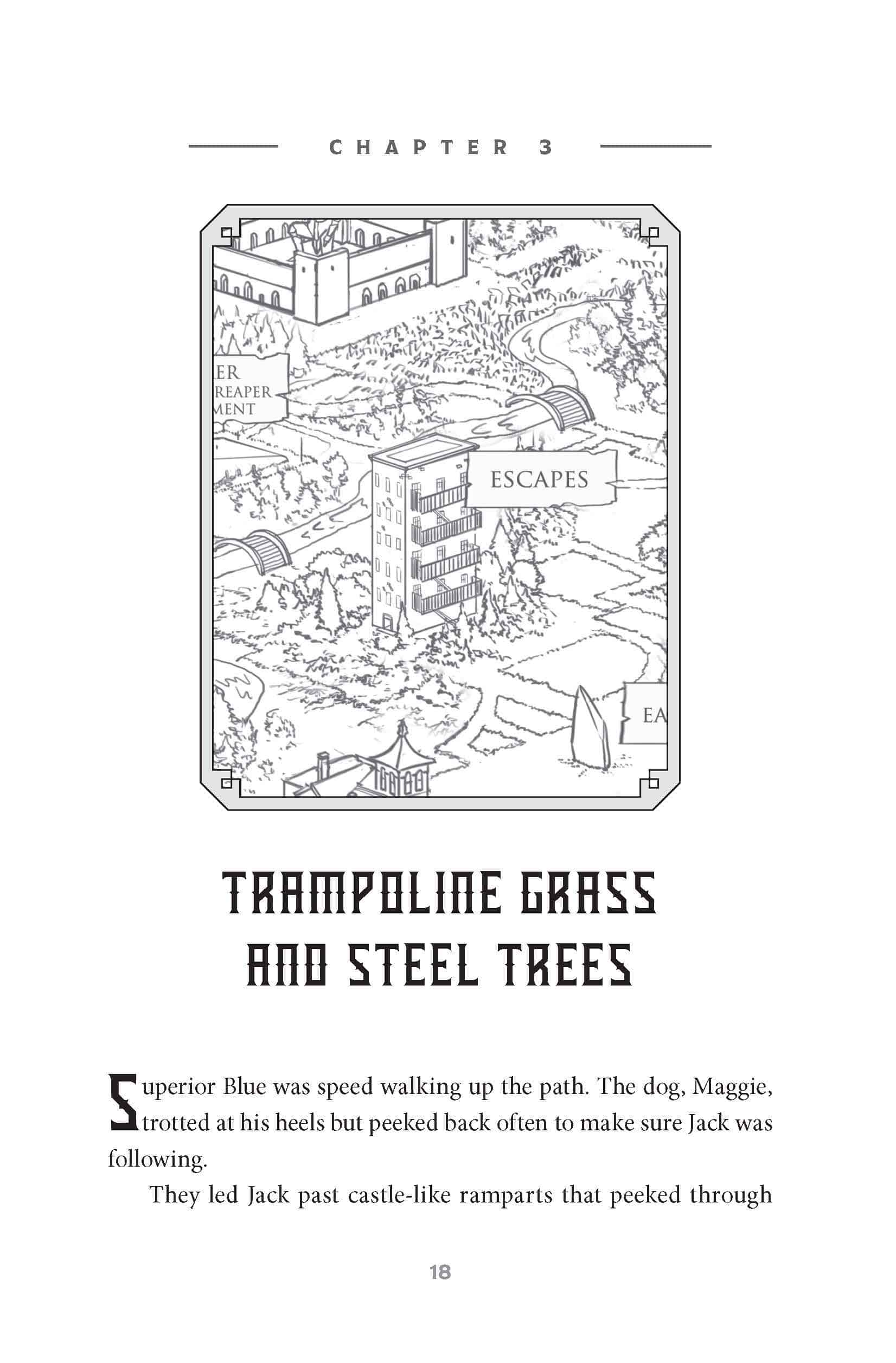 Illustration of the trampoline grass and steel trees