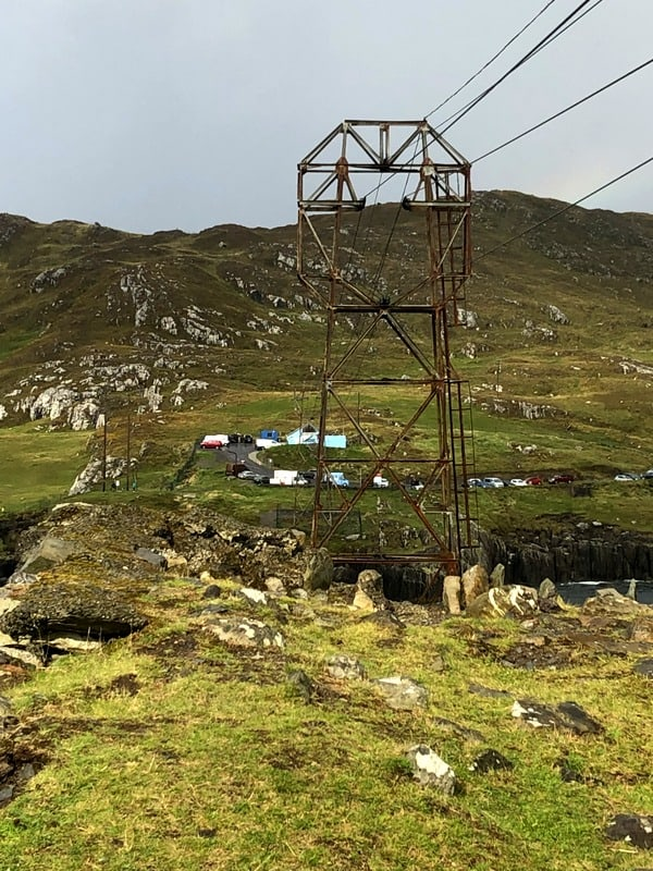 Cable car support and wires on Dursey Island