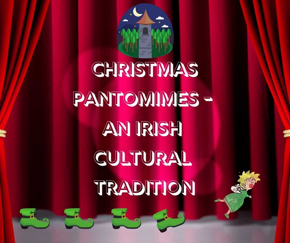 Red curtains on a stage with leprechaun shoes, a fairy, a tower image and text