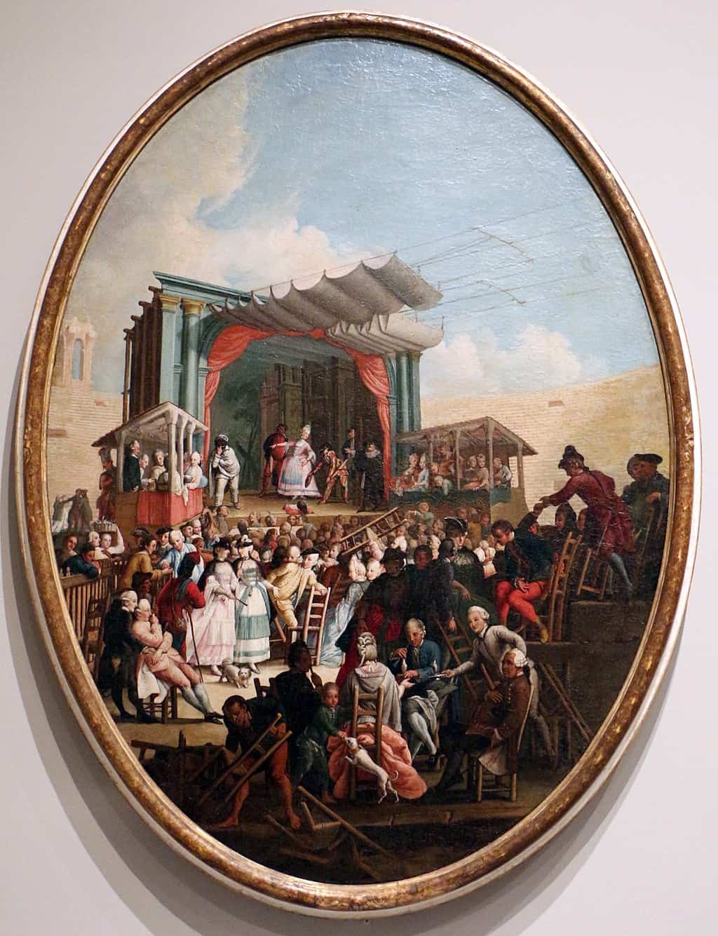 An oil painting from Chicago showing a Commedia Italiana at Verona