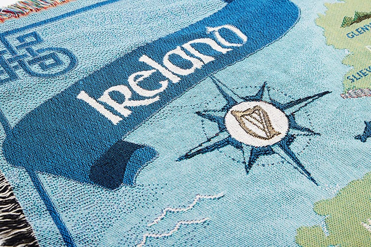 Details of the Ireland title on a Map of Ireland cotton throw