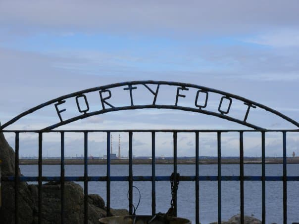 The wrought iron sign saying Forty Foot at Dublin\'s favorite sea swimming spot