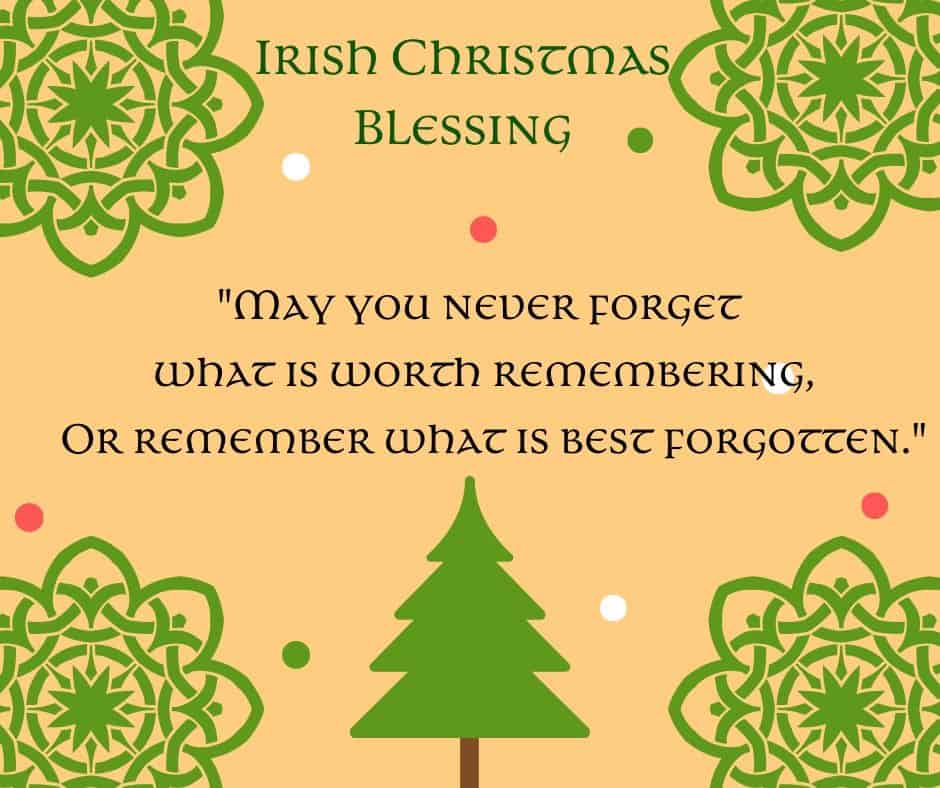 Irish Christmas Blessing Free Printable Graphic with a Christmas Tree and Celtic Design Snowflakes
