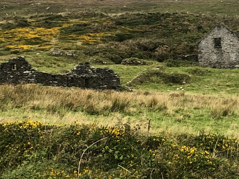 Roofless stone cottages on Dursey Island in County Cork