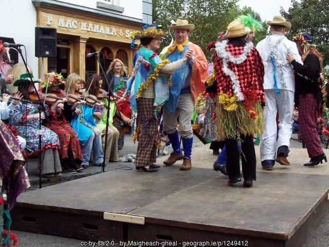 Traditional Irish straw boys dancing at Bunratty Folk Park