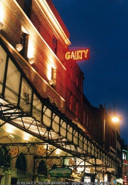 Gaiety Theatre sign over the wrought iron entrance to this Victorian theater