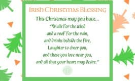 Green and orange Christmas tree border around an Irish Christmas Blessing