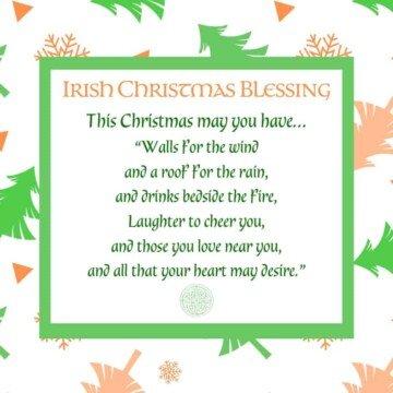 Green and orange Christmas tree border around an Irish Christmas Blessing