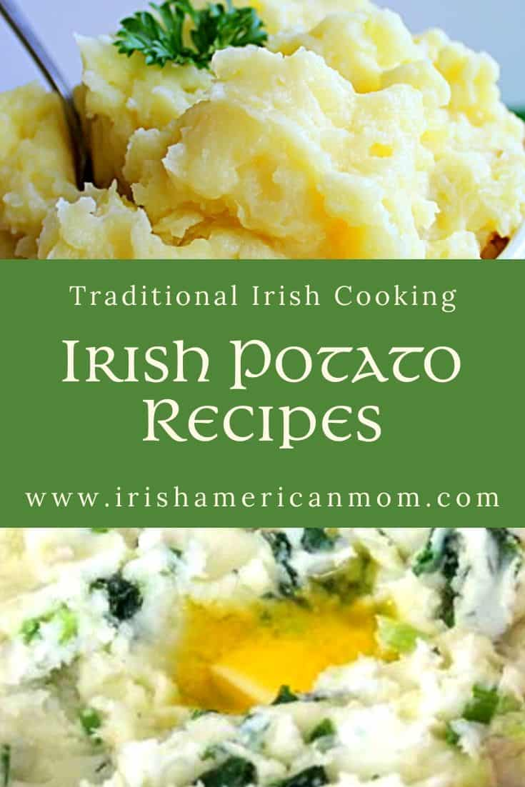 A graphic featuring two images of mashed potatoes and colcannon for Irish Potato recipes plus text