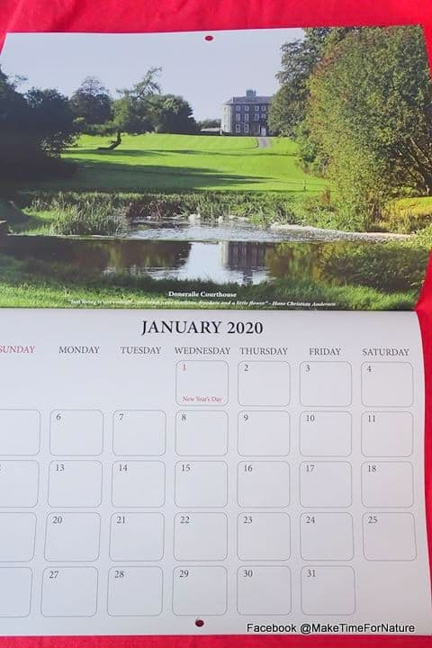 Calendar page for January 2020 featuring a large country house and garden in Ireland
