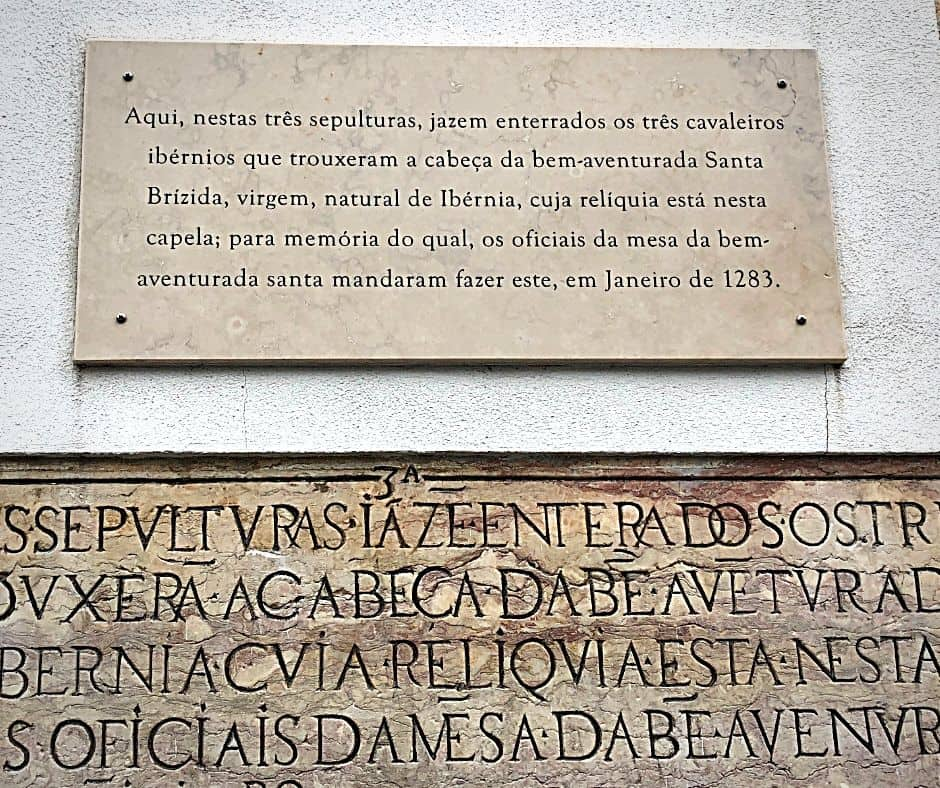 Inscription in the Church of Saint Brigid in Portugal
