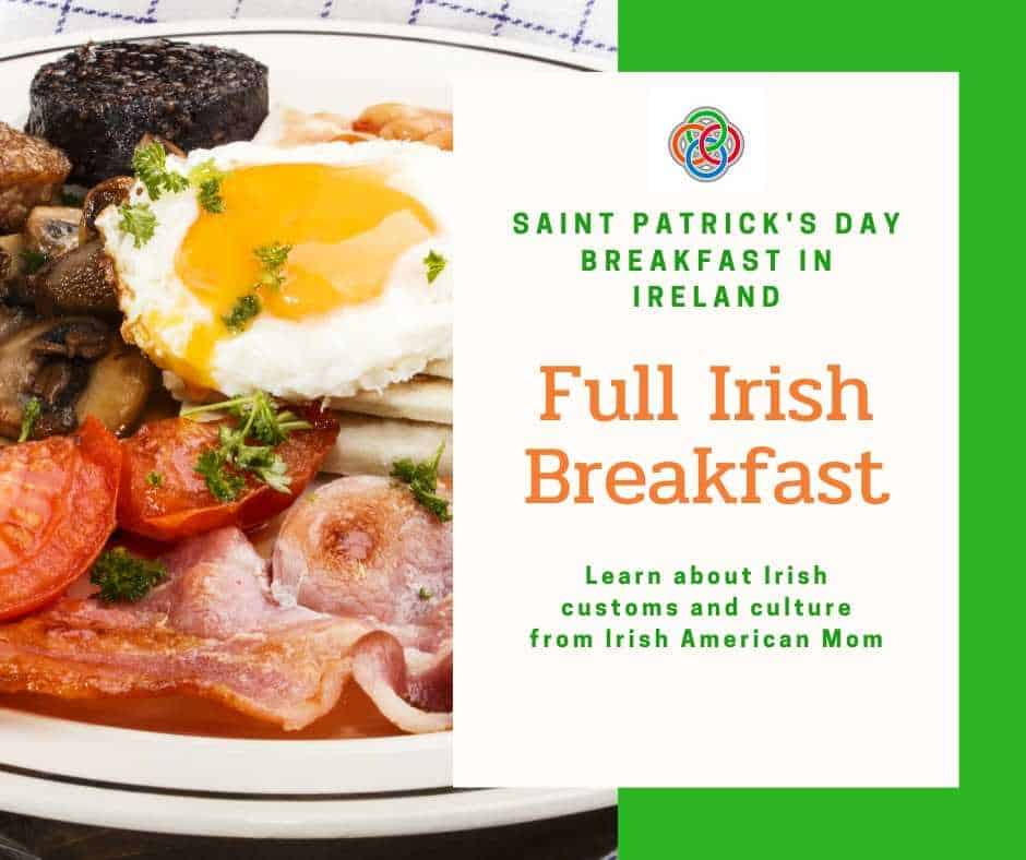 An Irish fry or full Irish breakfast featuring bacon, sausage, black and white pudding and a fried egg
