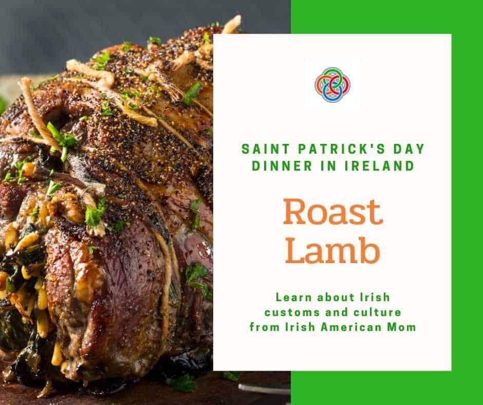 Roast lamb and text