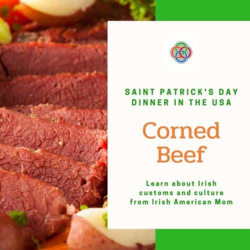 Slices of corned beef for a graphic about food for Saint Patrick's Day in the USA