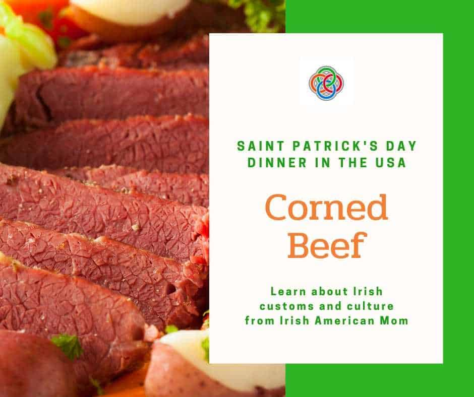 A close up of food, with Corned Beef for Saint Patrick\'s Day