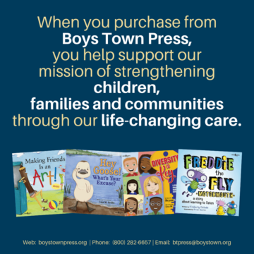 Graphic showing how donations and purchases help Boys Town Press