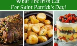 A picture collage showing roast lamb, roast potatoes and trifle for a Saint Patrick's Day menu in Ireland
