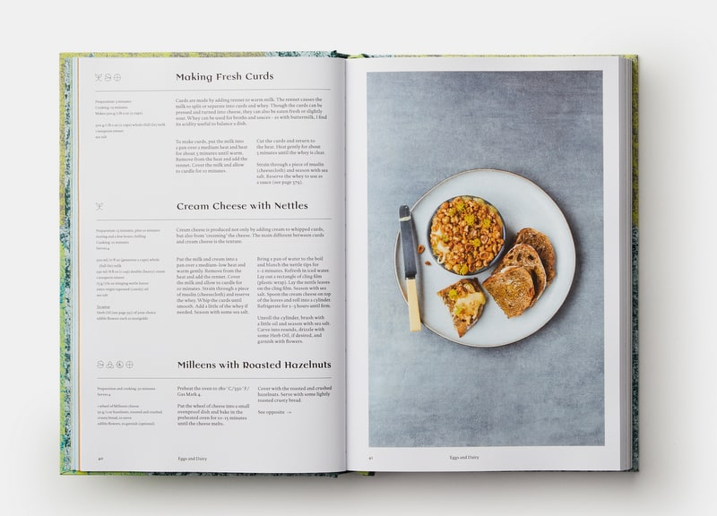 Text and a food image in a book