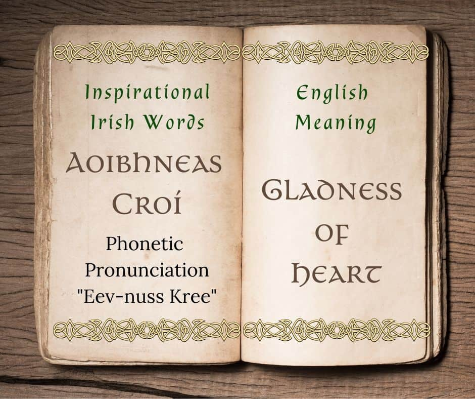 A vintage book graphic for the Irish saying that means gladness of heart