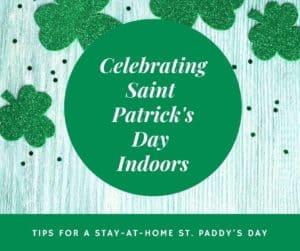 Green shamrock graphic for celebrating Saint Patrick's Day indoors