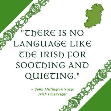 Text with Celtic borders and a map of the island of Ireland