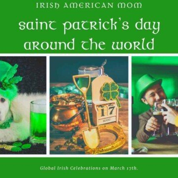Saint Patrick's Day Around the World graphic featuring a dog dressed in green, drinking beer and leprechaun gold