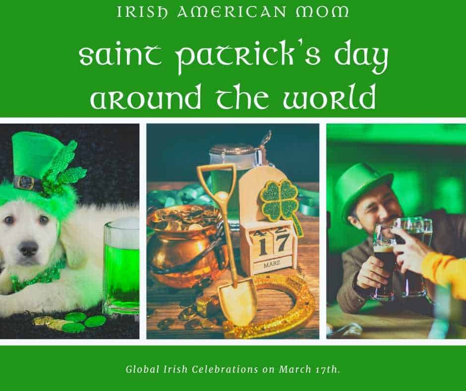 Saint Patrick\'s Day Around the World graphic featuring a dog dressed in green, drinking beer and leprechaun gold