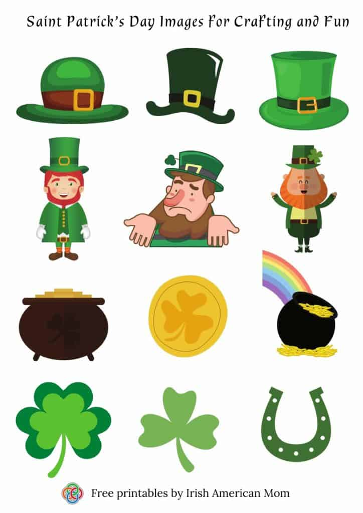 leprechaun hats, leprechauns, pots of gold, shamrocks and a horse shoe