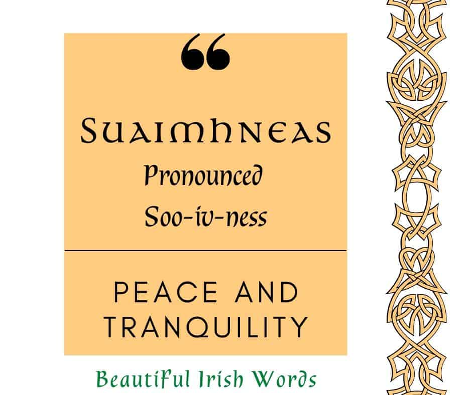 Graphic for the Irish word suaimhneas with a golden square and a Celtic knot border