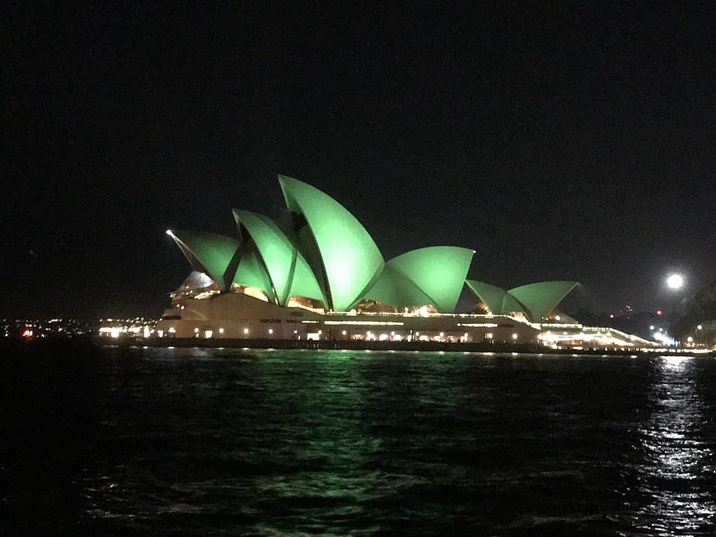 The Sydney Opera House in green lights