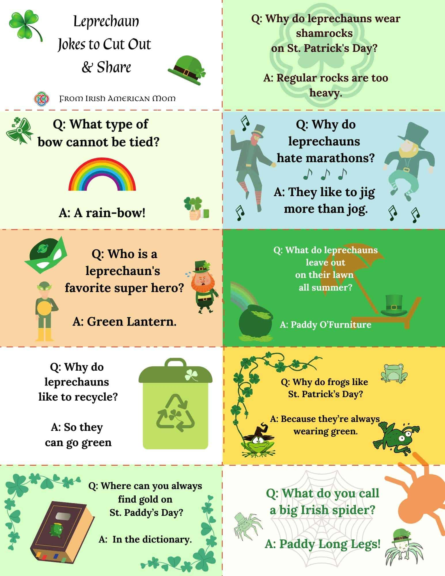 A printable sheet featuring leprechaun jokes that can be cut into rectangular business card size