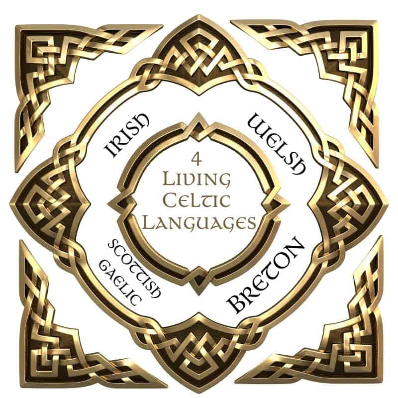 Gold four cornered Celtic knot emblem depicting the four living Celtic languages of Irish, Welsh, Scottish Gaelic and Breton