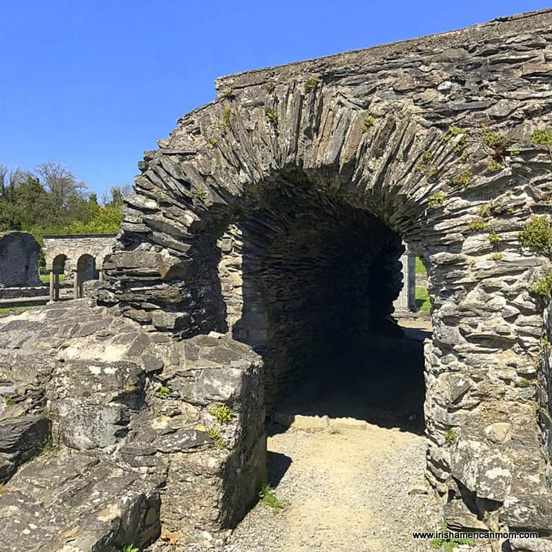 A stone archway in an old Irish monastery now in ruins