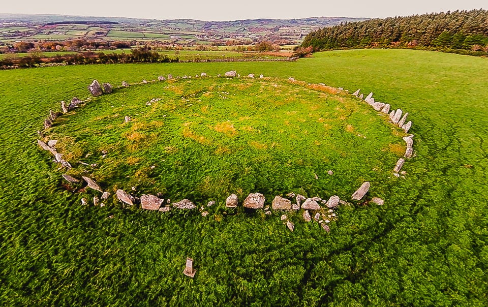 Aerial view of a stone circle in a field in Ireland