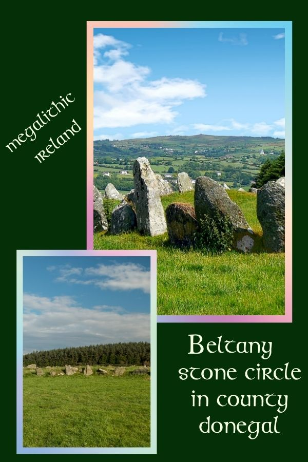 Two image collage featuring a stone circle in a green field with text and a dark green background