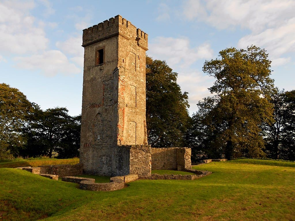 A stone folly castellated tower
