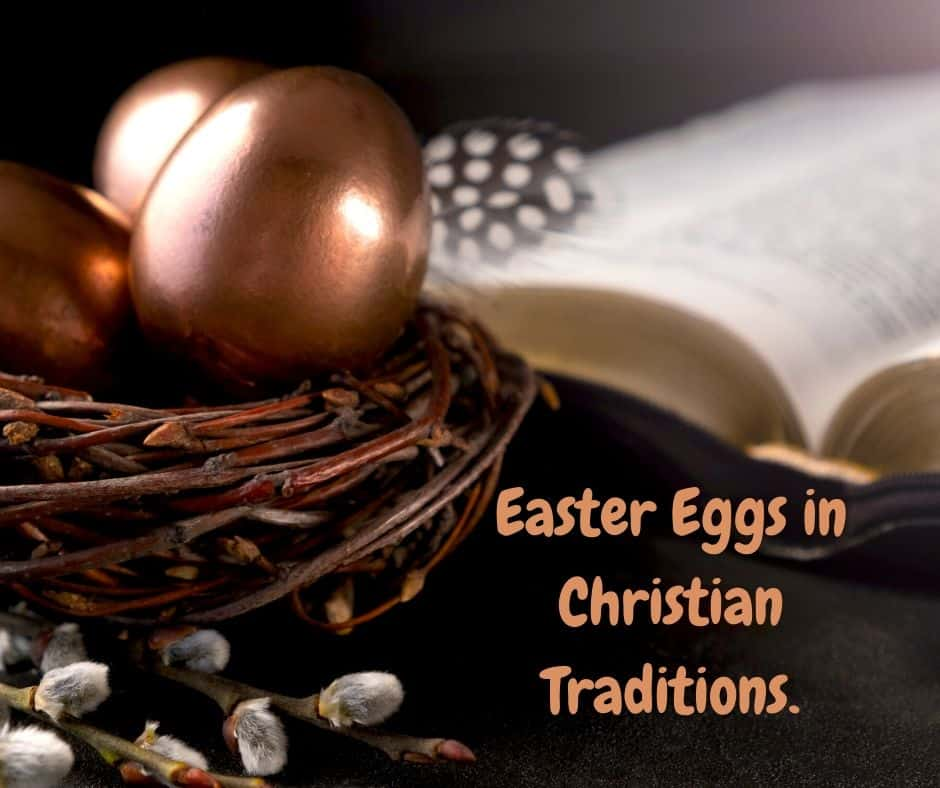Golden Easter eggs in a wicker basket beside an open bible