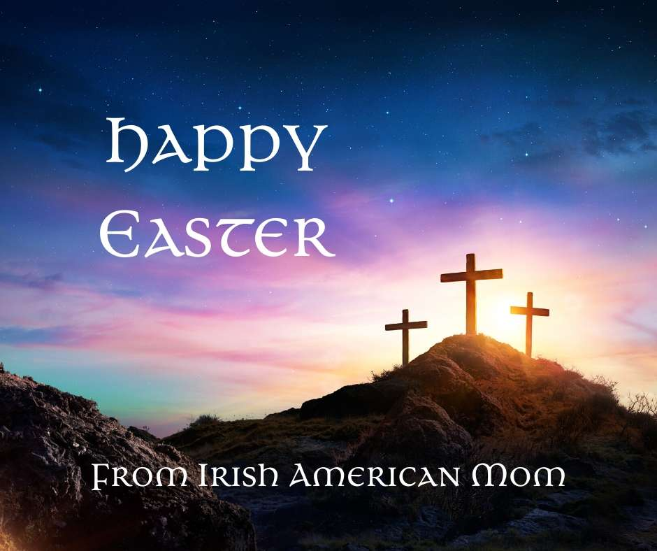 Three crosses on the Hill of Calvary featured on a happy Easter graphic