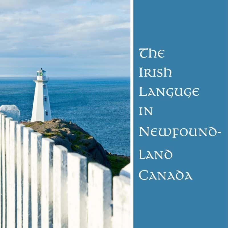 White lighthouse, blue ocean and white fence on graphic for the Irish language in Newfoundland Canada