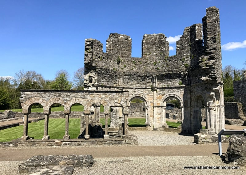 The ruined remains of stone buildings at a monastery in Ireland