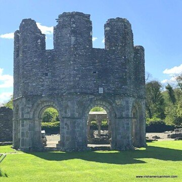 The lavabo is a ruined octagonal stone builing in Mellifont Abbey in County Louth