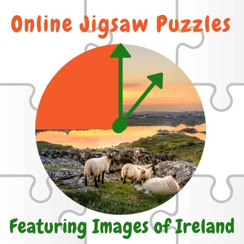 Graphic featuring a jigsaw grid, a circular image of sheep in Ireland plus the hands of a clock for Online Jigsaw Puzzles